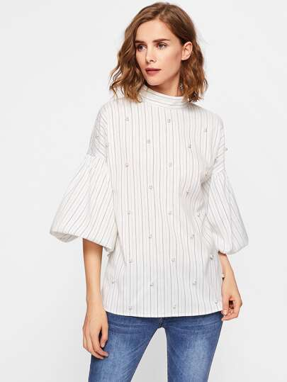 Pearl Beading Puff Sleeve Pinstripe Blouse