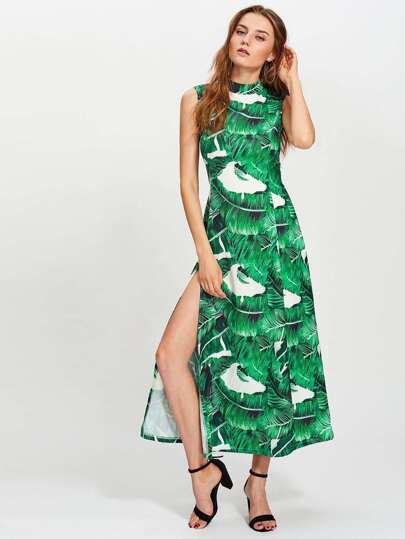 Vestido con estampado de hoja de plátano con corte alto