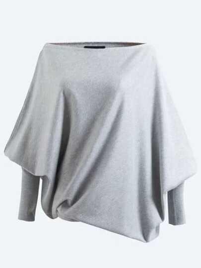 Boat Neckline Gigot Sleeve Oversized Knitwear
