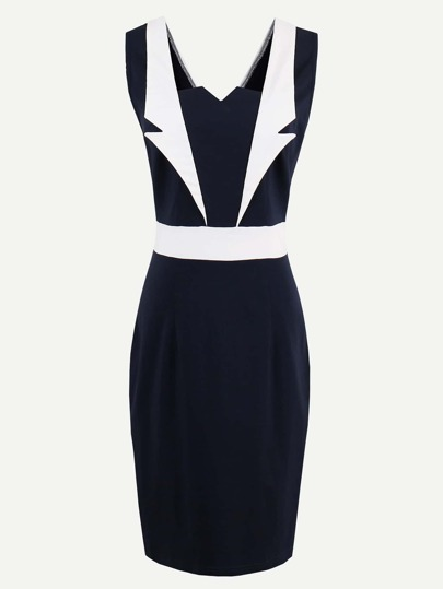 Contrast Panel V Back Slim Dress
