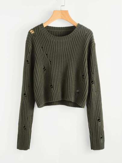 Rib Knit Distressed Jumper