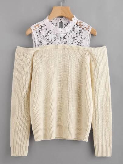 Pullover mit Blumen Spitzen