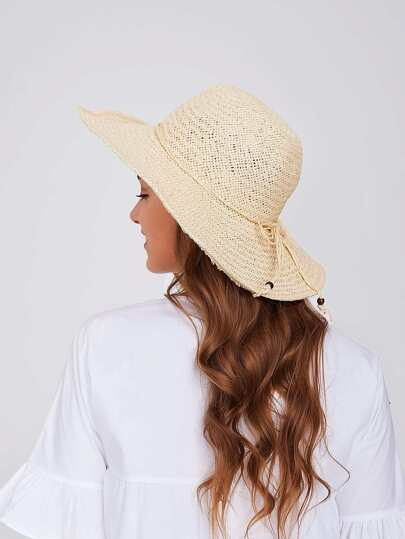 Bow Tie Band Straw Sun Hat