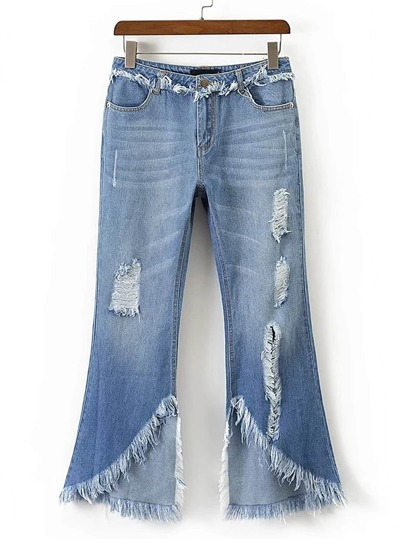 Frayed Trim Ripped Detail Flare Jeans