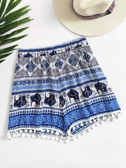 Shorts imprimé Aztèque avec des pompons