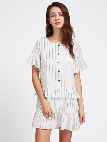Vertical Pinstriped Frill Trim Dress