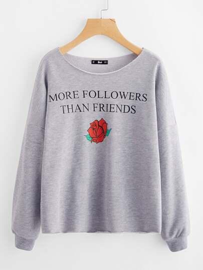 Sweat-shirt graphique en tricot