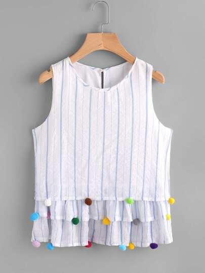 Bluse mit Streifen und Pompons