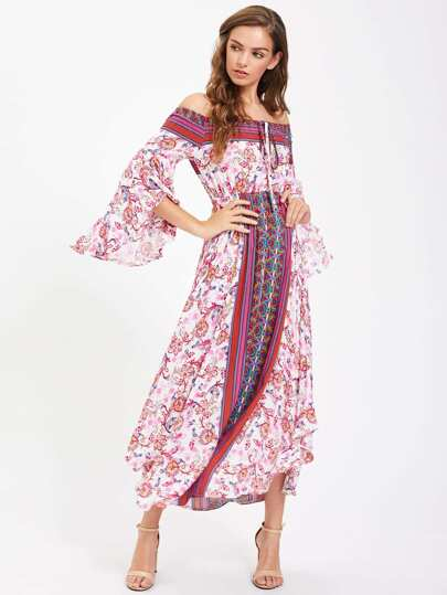 Tie Neck Fluted Sleeve Bardot Dress