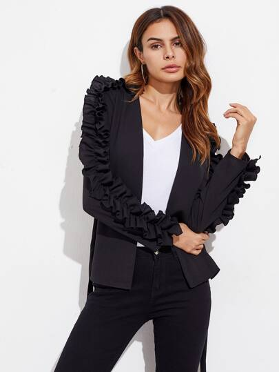 Shirred Frill Trim Self Belted Blazer