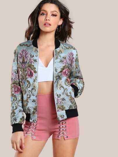 Ribbed Trim Floral Jacquard Bomber Jacket