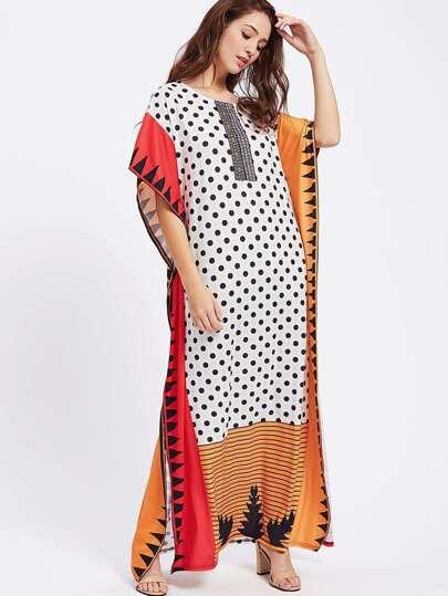 Robe poncho imprimée mixte