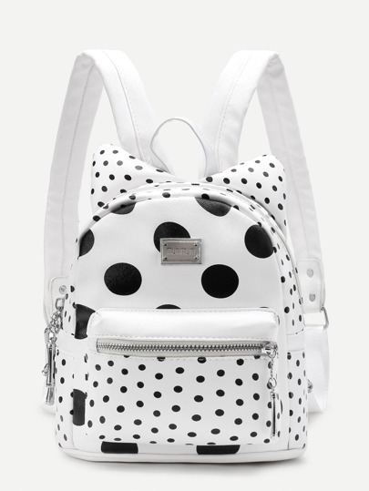 Polka Dot Ear Design PU Backpack
