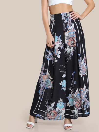 Floral Print High Rise Pants BLACK
