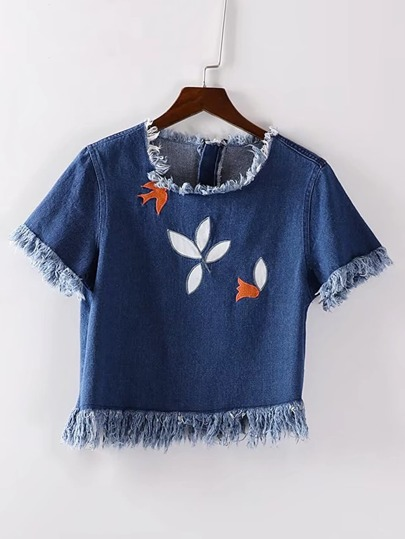 Frayed Trim Embroidery Denim Top