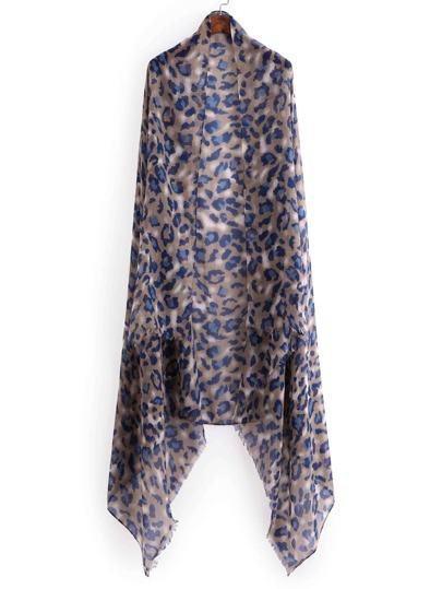Écharpe découpée imprimée du léopard avec des franges
