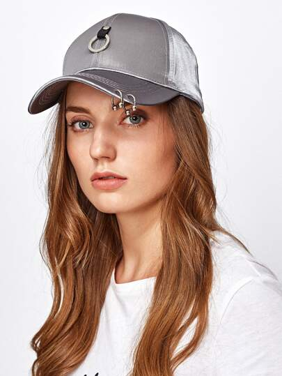 Ring Embellished Satin Baseball Cap