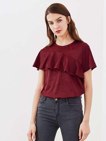 Tee-shirt scintillant asymétrique découpé à volants