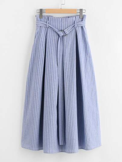 D-Ring Belt Detail Box Pleated Pinstripe Skirt