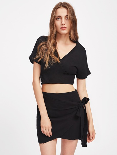 Crisscross Tie Back Top With Overlap Skirt