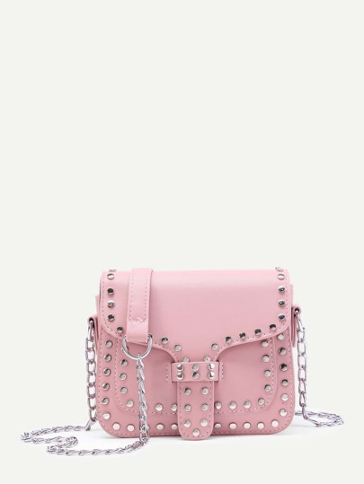 Studded Decorated PU Bag With Chain Handle
