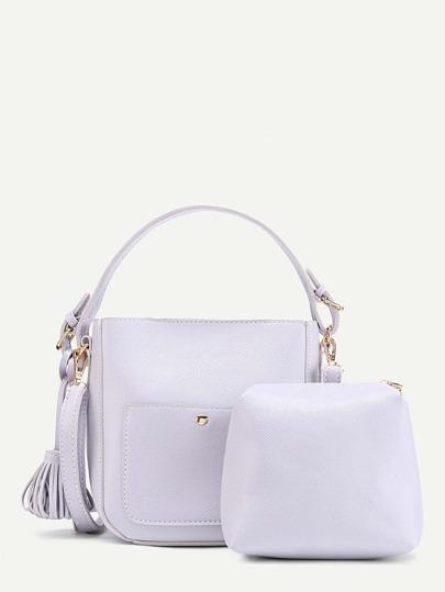 Tassel Detail Shoulder Bag With Clutch