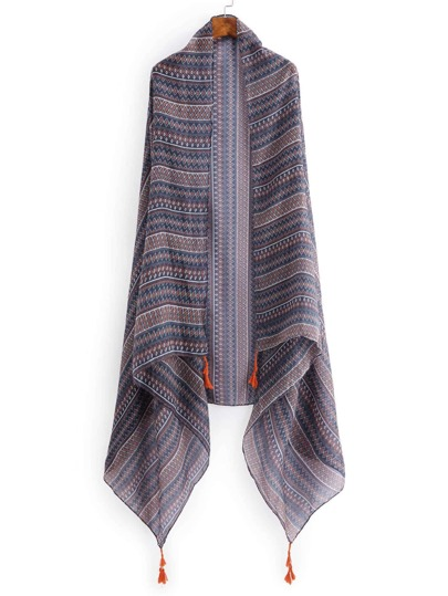 Модный шарф с бахромой и графическим принтом