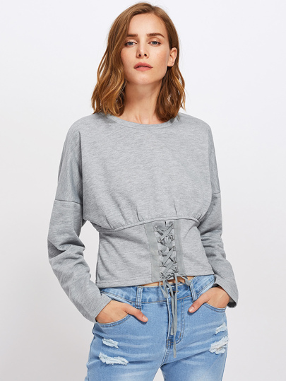Drop Shoulder Lace Up Corset Sweatshirt