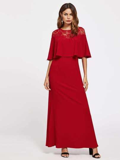 Illusion Lace Neck Double Layer Dress