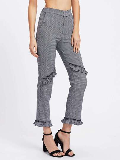 Glen Plaid Frill Trim Pants