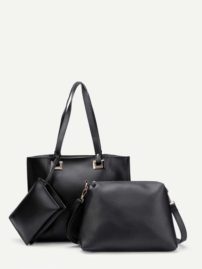 Plain PU Combination Bag 3pcs