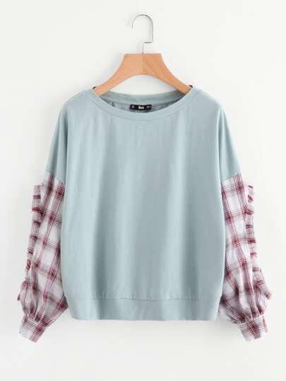 Frilled Checkered Sleeve Mixed Media Sweatshirt