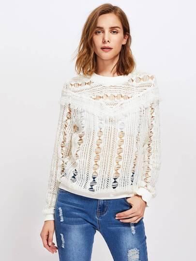 Guipure Lace Fringe Detail Sweatshirt