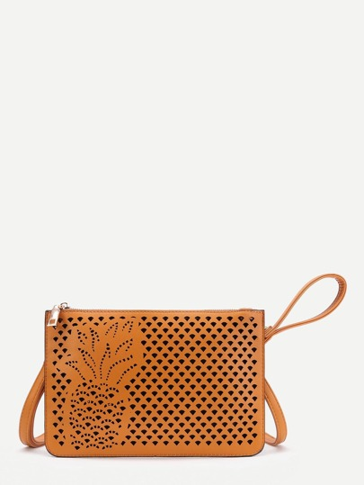 Pineapple Design Cut Out PU Clutch Bag