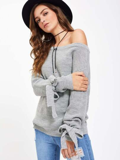 Drop Shoulder Tie Sleeve Jumper
