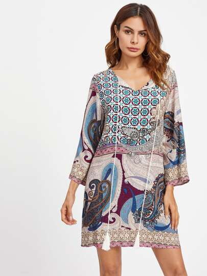 Mixed Print Tassel Tied Neck Dress