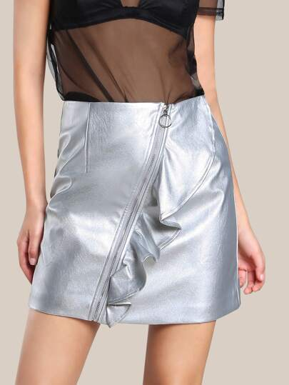 O Ring Faux Leather Skirt SILVER