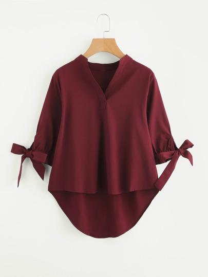 Модная асимметричная блуза с бантом