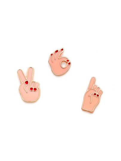 Cute Gesture Brooch Set