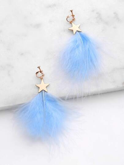 Feather Design Drop Earrings With Star