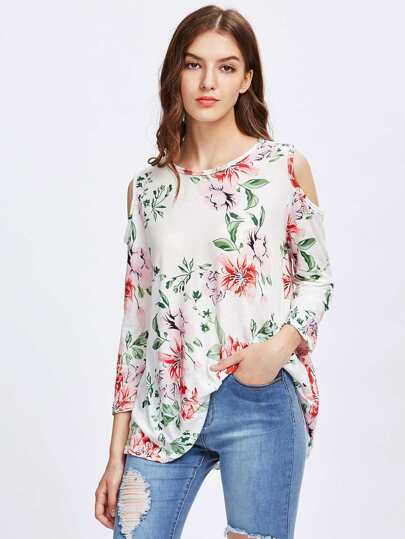 Allover Florals Open Shoulder Tee