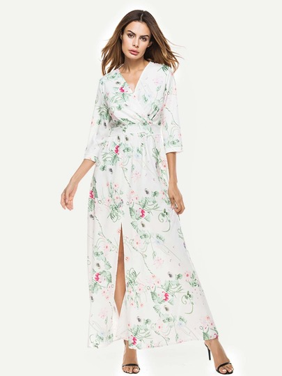 Surplice Neckline Lace Panel Botanical Print Split Dress