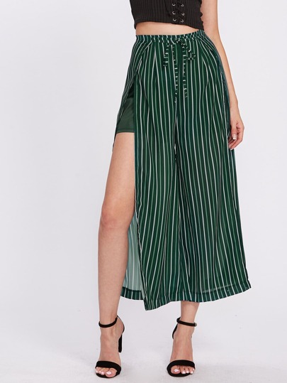 Vertical Striped Slit Side Wide Leg Pants