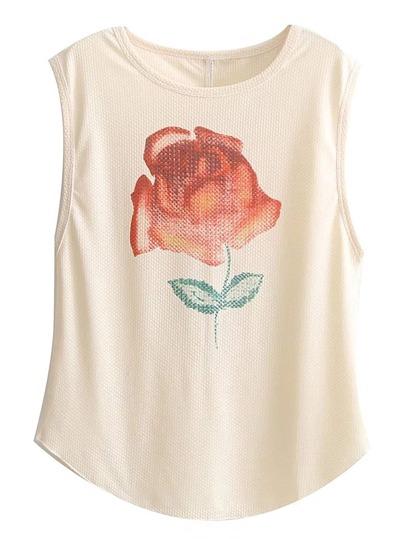 Camiseta con estampado de flor sin manga