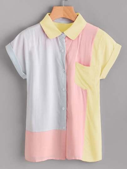 Color Block Dolman Sleeve Cuffed Shirt