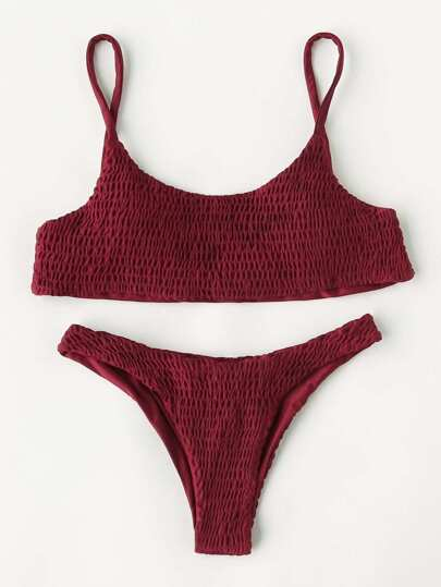 Conjunto de bikini fruncido con pierna alta