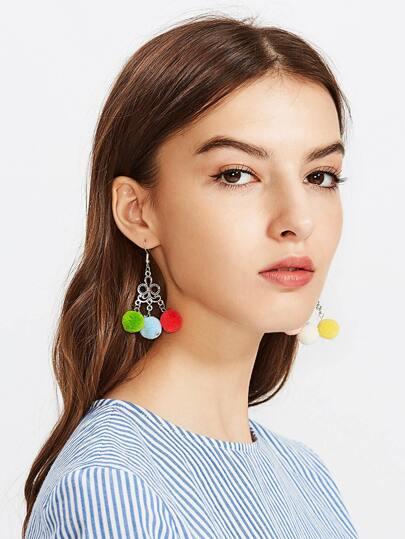 Glamorous Multi Pom Pom Drop Earrings