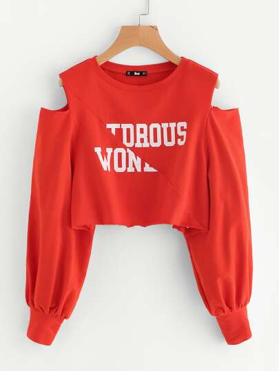 Open Shoulder Raw Edge Cut And Sew Crop Pullover