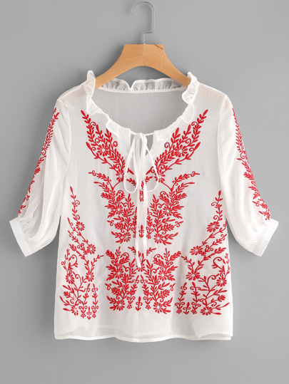 Frilled Tie Neck Vine Embroidered Blouse
