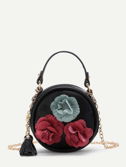 3D Flower Embellished Round Bag With Tassel